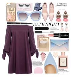 """""""I Night Go Out on a Date"""" by numbsunday ❤ liked on Polyvore featuring Elizabeth Cole, L'Oréal Paris, Ted Baker, Lapcos, Rebecca Minkoff, TIBI, Gianvito Rossi, Smashbox, Gucci and SUGARFIX by BaubleBar"""