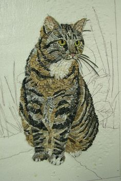 Beautiful mosaic cat   Tumblr - From the sketching in the background, it looks like there is more to come.