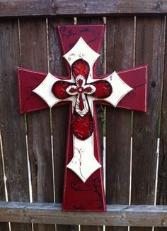 Maroon and Cream Large layered wood cross. $45.00, via Etsy.
