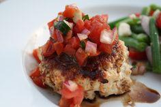 Lauren's Menu: Mozzarella Stuffed Turkey Burgers with a Balsamic Glaze and Bruschetta Topping