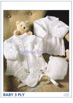Hey, I found this really awesome Etsy listing at https://www.etsy.com/listing/216297433/white-baby-set-3ply-knitting-pattern-99p
