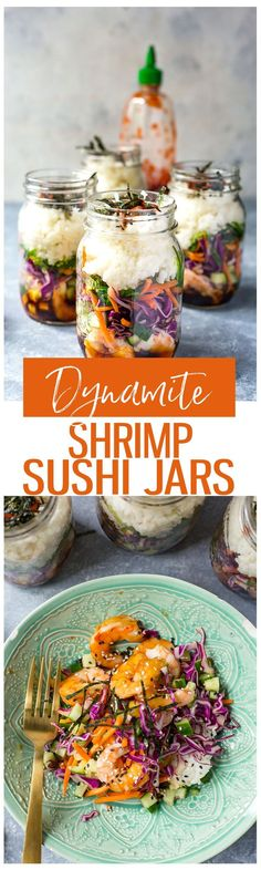 These Dynamite Shrimp Sushi Jars are the perfect grab and go lunch, filled with all the flavours of your favourite sushi roll and seaweed salad! They're also gluten free!