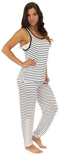 84d05138b8 Pajama Heaven Women s Black  amp  White Stripe Tank and pants with mesh  (PHV1925-