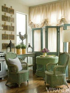 Victorian wicker set painted green. Love the skirting.