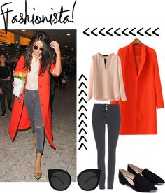 Get the Look: Selena Gomez by styling101 featuring a red coat Chiffon blouse / Chicnova Fashion red coat / Wallis grey jeans / Zara flat shoes / Quay round glasses, $36