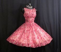 Vintage 1950's 50s Fuschia Pink Ruched Impressionist Floral Print Chiffon Organza Party Prom Wedding Dress Gown