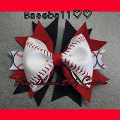 Baseball Hair Bow REAL BALL by BowDaciousBabyCo on Etsy, $9.00