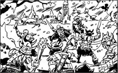 """The orcs in the North wage a constant war of raid and retreat on frontier outposts."" (Esteban Maroto from FR5: The Savage Frontier by Jennell Jaquays, TSR, 1988.)"