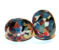 Jacquard Lampwork Glass Bead Pair  Artist by FireandFibers on Etsy, $6.50