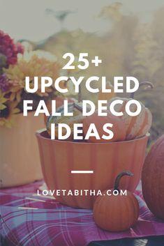 Over 25 different upcycled deco ideas for fall! White Pumpkin Decor, Diy Pumpkin, Wood Pumpkins, Fabric Pumpkins, Diy Fall Wreath, Diy Planters, Arts And Crafts Projects, Mason Jar Crafts, Pumpkin Decorating