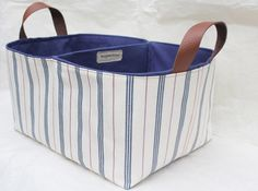 Large Cotton Ticking Stripe Navy Divided Storage Basket   Leather Handles    Eco Friendly Storage UK   Nursery, Diaper Nappy Caddy, Bin