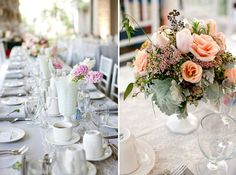 white table with pink flowers http://greenweddingshoes.com/vintage-california-wedding-ashley-ian/