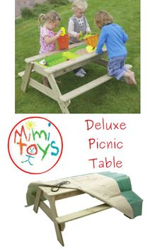 TP Deluxe Picnic Table - Sandpit & Waterplay plenty of room for 4 children. Includes sandpit and water tray play. Sand Pits For Kids, Wooden Picnic Tables, Water Tray, Plastic Bowls, Social Activities, Gross Motor Skills, Garden Toys, Outdoor Play, Ireland