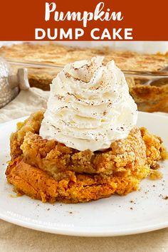 Dump Cake Recipes, Dessert Recipes, Dump Cakes, Pumpkin Dessert, Canned Pumpkin, Vegetarian Cake, 9x13 Baking Dish, Pumpkin Recipes, Fall Recipes