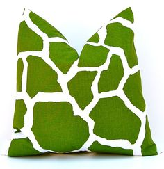 Decorative Throw Pillow Covers for Decorative Pillows 18 x 18 Inches Modern Green Giraffe $16