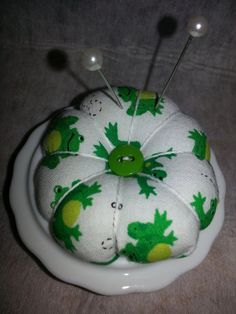 Pincushion in a vintage dish https://www.etsy.com/listing/167943263/pincushion-in-a-ceramic-dish-with-frogs