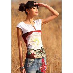 530e0f0f60e7 Vintage Round Neck Chinese Style Floral Print Short Sleeve Women s T-Shirt  Plain Dress