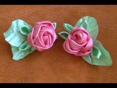 Como fazer uma Flor de fitas de cetim com a base boca de jacaré Passo a Passo - YouTube