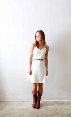 Vintage cream/ white spaghetti strap summer dress. $33.00, via Etsy.