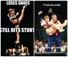 Don't want to upset any one with this pin because cheerleading is just as hard as gymnastics and in fact they have many similarities. But in cheer if you hurt yourself like in gymnastics you keep going, no stopping unless you faint Gymnastics Stunts, Funny Gymnastics Quotes, Inspirational Gymnastics Quotes, Gymnastics Problems, Gymnastics Workout, Gymnastics Pictures, Cheer Stunts, High School Cheerleading, Cheerleading Quotes