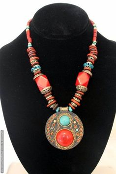 Orange Beads hand-crafted tribal ethnic necklace   artisansofindia - Jewelry on ArtFire
