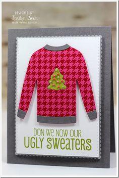 Cozy Greetings, Houndstooth Background, Comfy Sweater Die-namics, Cozy Mittens Die-namics - Karolyn Loncon  #mftstamps