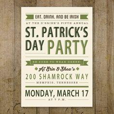 St. Patrick's Day party invitation. Retro design with a rustic edge. Custom design, printable invite.