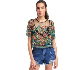 Gear up for summer in this floral embroidered mesh tee. Pair with Denim Shorts and Sandals for a laid back look. Gender: Women Collar: O-Neck Sleeve Length(cm): Short Style: Casual Clothing Length: Short Pattern Type: Floral Fabric Type: Broadcloth Material: Mesh, 100% Polyester Fabric: Fabric has no stretch