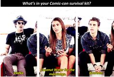 Ian, Nina and Paul @ Comic Con 2014 ~ The Vampire Diares Survival Kit for Comic Con