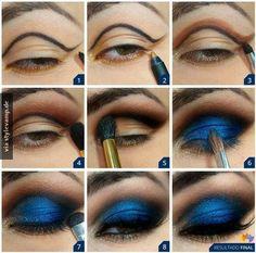 Intensiv blaues Make-Up Tutorial