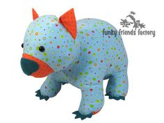 Wodger the WOMBAT toy sewing pattern is here! He's simple toy pattern to whip up and will look great in all sorts of fabrics. Animal Sewing Patterns, Easy Sewing Patterns, Stuffed Animal Patterns, Stuffed Animals, Pdf Patterns, Sewing Ideas, Cute Wombat, Toy Bulldog, Softie Pattern