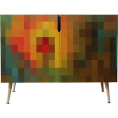 Dot & Bo Diagramme Credenza - Wood Legs ($999) ❤ liked on Polyvore featuring home, furniture, storage & shelves, sideboards, hidden storage furniture and colored furniture
