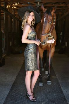 Looking for the perfect outfit for wear to the races? For Vancouver's Deighton Cup at Hastings Park, style editor Kelsey Klassen sports a strapless brocade dress by Jason Matlo and a custom hat by Hive Mind Millinery.    http://www.racingfuture.com/