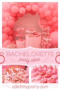 """Pretty in Pink / Bachelorette """"Pretty in Pink Bachelorette Party """" Bridal Shower Cakes, Bridal Shower Party, Party Drinks, Party Favors, Pink Party Foods, Pink Bachelorette Party, Pink Party Decorations, Pink Parties, Party Activities"""