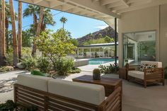 Panoramic mountain views round out this stunning desert property, which even has a bit of a Hollywood past.