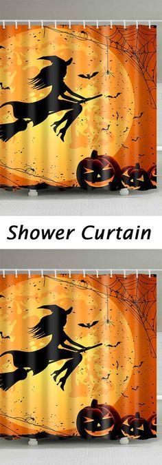 3Pcs Halloween Pumpkin Withered Tree Printed Bathroom Mats Set - halloween bathroom sets