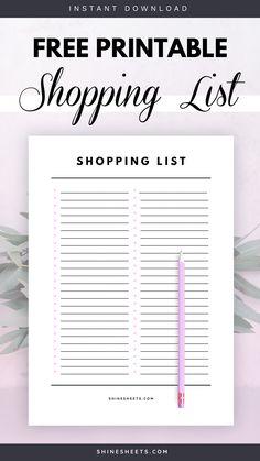 Free Shopping List Printable Planner Inserts, Planner Pages, Printable Planner, Free Printables, Journal Template, List Template, Templates, Planner Organization, Organization Skills