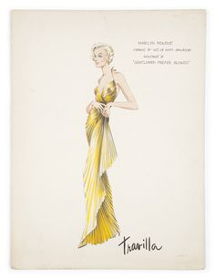 Dress sketch from William Travilla for Marilyn Monroe. 1953