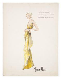Sketch by William Travilla dress for Marilyn Monroe in the movie Gentlemen Prefer Blondes, 1953