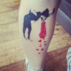 Tattoo Banksy in2u calf sick of love