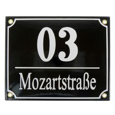 Emaille Hausnummer und Straßenname 20 x 16 cm
