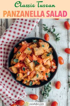 Original Tuscan Panzanella Salad - A super quick and easy Italian recipe, the original Tuscan Panzanella is the perfect summer salad. With its refreshing tomatoes and crusty croutons, you will never want to any other appetiser during the hot months. Best Salad Recipes, Delicious Vegan Recipes, Whole Food Recipes, Cooking Recipes, Healthy Recipes, Simple Recipes, Yummy Food, Vegan Finger Foods