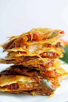 Shrimp Fajitas Quesadillas | Grandbaby Cakes