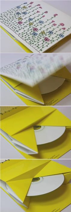 Cool pop up CD DVD packaging // yellow / bright / flowers / die cut / promotion Kirigami, Cd Cover Design, Cd Design, Cd Packaging, Packaging Design, Pochette Cd, Paper Engineering, Cd Art, Cd Cases