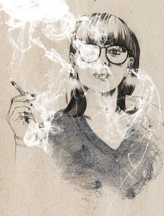 Victor Jönsson illustration - love the opaque white over drawing...