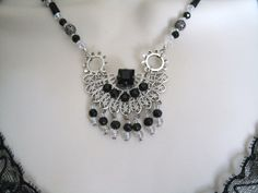 Gothic Gear Necklace, gothic jewelry steampunk jewelry victorian jewelry edwardian jewelry goth neo victorian fantasy cosplay by Sheekydoodle on Etsy https://www.etsy.com/listing/127427618/gothic-gear-necklace-gothic-jewelry