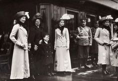 The daughters of Tsar Nicholas II of Russia and Hessian relatives, Grand Duchess Eleonore of Hesse and little prince Ludwig and hereditary Grand Duke George Donatus. Early 1910s.