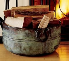 Decorative Accessories -- Add some old world style to your hearth with this beautiful handcrafted copper log bucket.