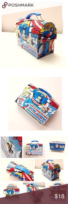 """Super Hero Captain America Carry All Tin Lunch Box Awesome boy's Captain America Lunch Box / Carry All! Workmen Style! • bright blue, red, yellow, white colors • It is such a cute stylish box, perfect for back to school! • New with sticker tags on the bottom. •  great birthday present, Marvel Super Heroes Comics theme party • Size: 6-7/8 x 3-1/2 x 5-3/8""""H approx by The Tin Box Company & Marvel. • God bless and happy poshing! Marvel Accessories Bags"""