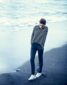 OCT '14 Style Guide: J.Crew women's oversize stripe turtleneck and Maddie pant.